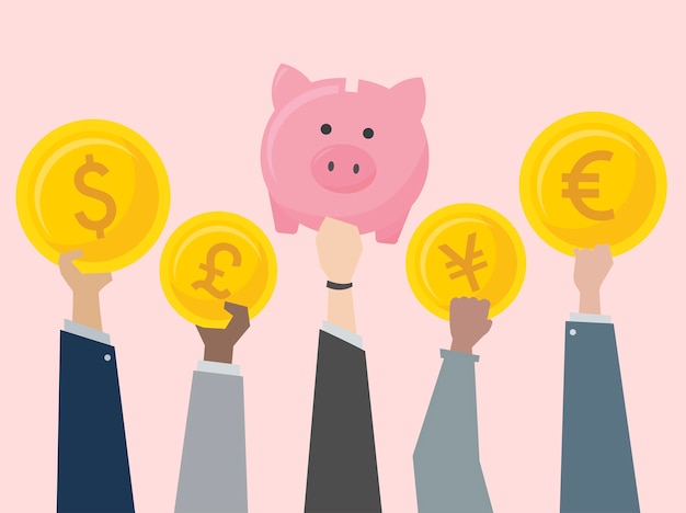 Gente de negocios con ilustración de monedas
