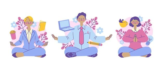 Gente de negocios de ilustración orgánica meditando