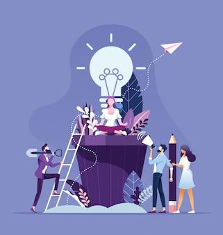 La gente de negocios de intercambio de ideas y el concepto de idea creativa