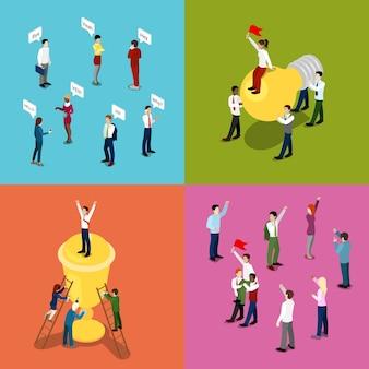 Gente de negocios isométrica. concepto de motivación, comunicación y liderazgo. vector ilustración plana 3d