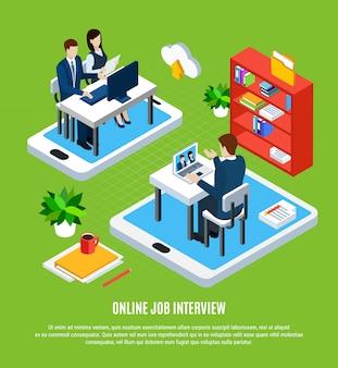 Gente de negocios isométrica con gadgets empleo solicitante y reclutadores ilustración vectorial