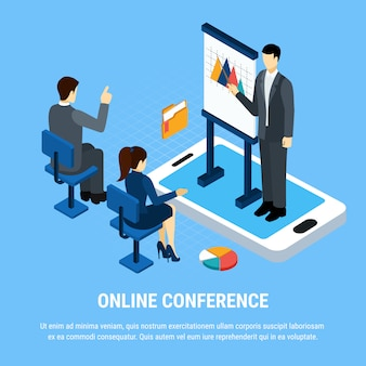 Gente de negocios isométrica, grupo de trabajadores de oficina durante la presentación en línea ilustración vectorial