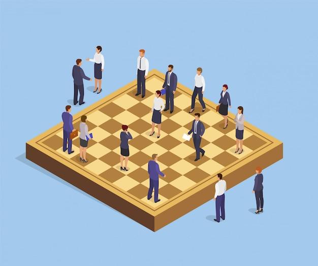 Gente de negocios isométrica en ilustración de estrategia de juego de ajedrez, empresario y empresaria en tablero de ajedrez, concepto de guerra corporativa