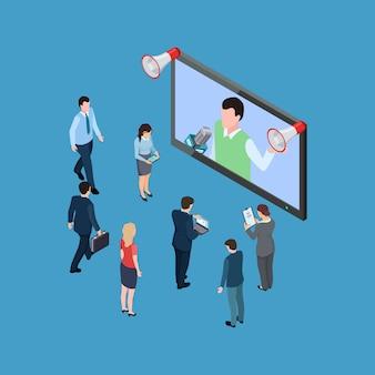 Gente de negocios isométrica con megáfonos y programa de televisión isométrica ilustración vectorial