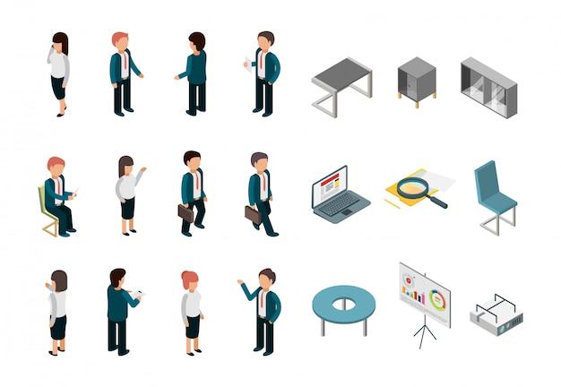 Gente de negocios isométrica suministros corporativos de oficina gerentes de muebles directores colección de vectores