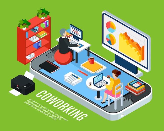 Gente de negocios isométrica con teléfono inteligente y oficina de coworking con muebles de espacio de trabajo y empleados ilustración vectorial