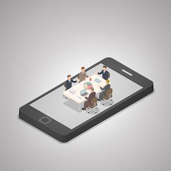 La gente de negocios isométrica tiene una reunión en un teléfono inteligente