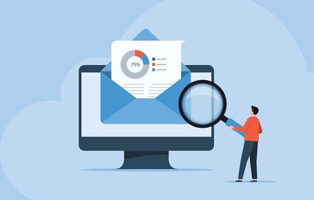 La gente de negocios lee e investiga el concepto de correo electrónico