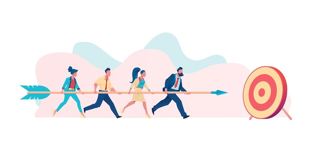 La gente de negocios lleva la flecha a la derecha en la meta