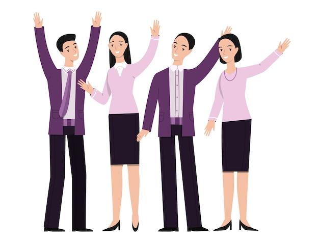 Gente de negocios de la mano gesticulando ilustración