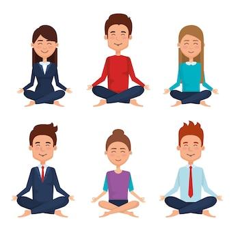 Gente de negocios meditación estilo de vida