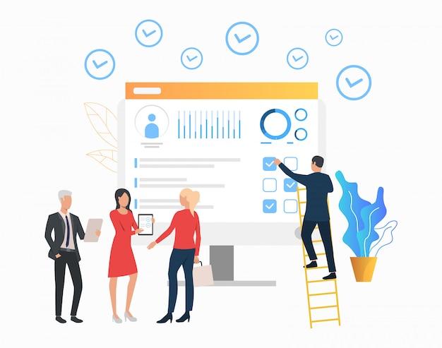 Gente de negocios mostrando documento al cliente