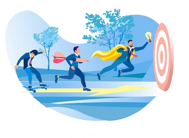 Gente de negocios moviéndose por la flecha al objetivo común