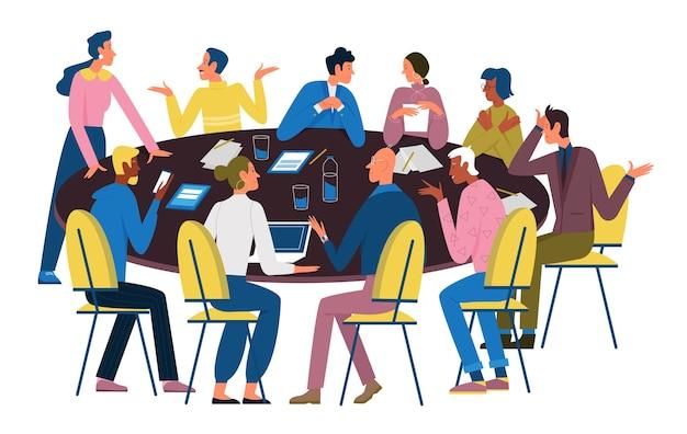 La gente de negocios negocia en mesa redonda