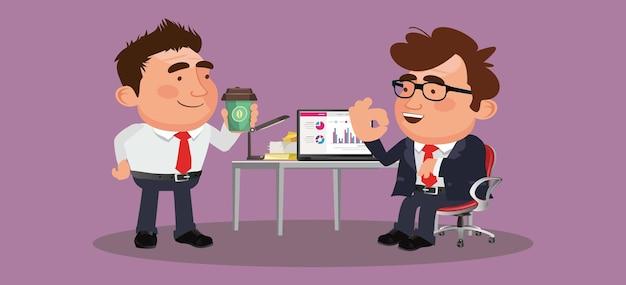 Gente de negocios o colegas sentados juntos y tomando café o té con una agradable charla