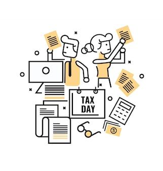 Gente de negocios ocupada con documentos fiscales. concepto de impuestos diseño de iconos de línea plana delgada
