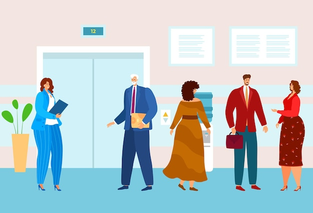 Gente de negocios en la oficina esperando ascensor