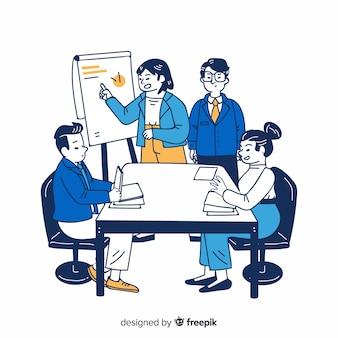 Gente de negocios en la oficina en estilo de dibujo coreano