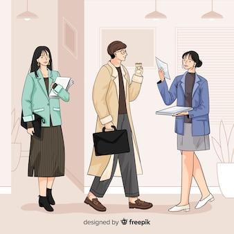 Gente de negocios en la oficina en ilustración coreana