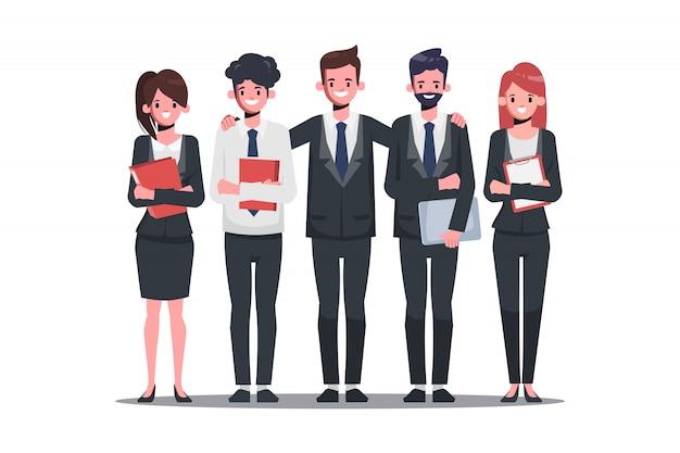 Gente de negocios en la organización de la oficina. carácter de empresario y empresaria.