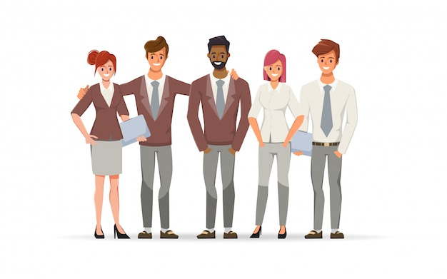 Gente de negocios en la organización de la oficina. empresario y empresaria y personaje de trabajo independiente.