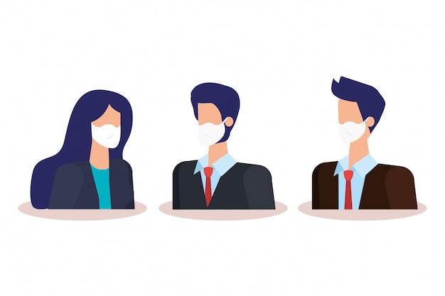 Gente de negocios con personajes de avatar de máscara facial