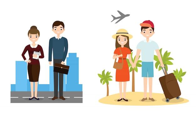 Gente de negocios y personajes de playa de estilo de vida activo.