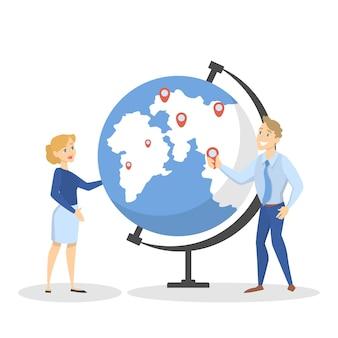 Gente de negocios de pie en el gran globo. idea de conexión global y trabajo en equipo. ilustración de vector aislado en estilo de dibujos animados