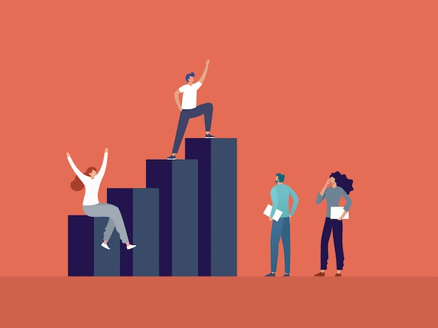 Gente de negocios de pie en la ilustración de gráfico, liderazgo empresarial y trabajo en equipo.
