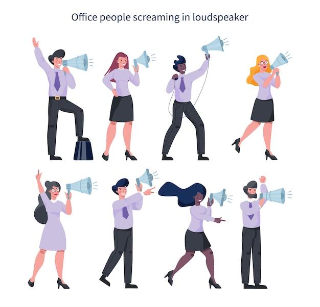 Gente de negocios de pie con megáfono. realización de promoción especial con altavoz. orador hacer anuncio. captando la atención del cliente.