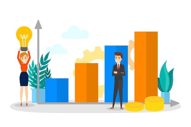 Gente de negocios de pie sobre un gráfico ascendente. idea de análisis y aumento. concepto de trabajo en equipo. beneficio y éxito en los negocios. piso aislado