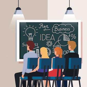 Gente de negocios y pizarra con gráficos de plan de negocios
