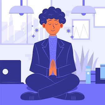 Gente de negocios plana orgánica meditando ilustración