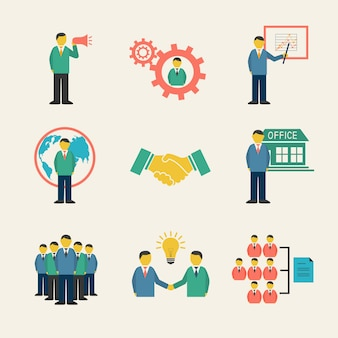 Gente de negocios plana reunión conjunto de iconos