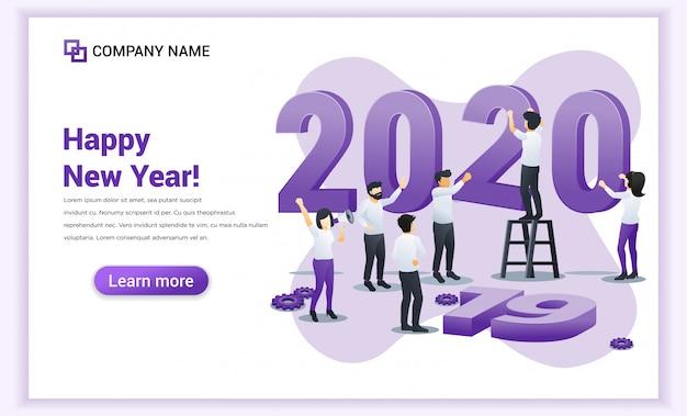 La gente de negocios se está preparando para el banner de año nuevo