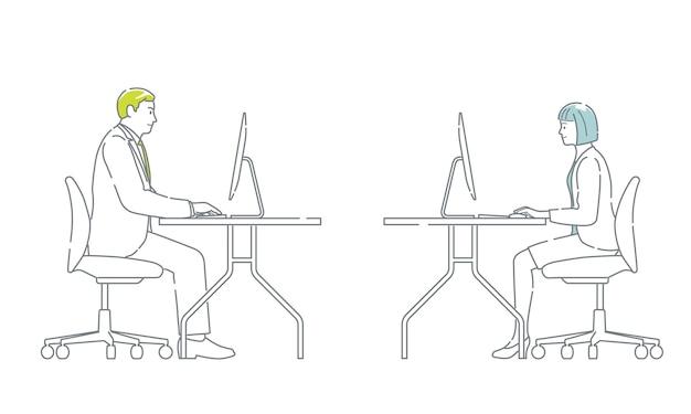 Gente de negocios que trabaja en los escritorios con computadoras fácil de usar ilustración vectorial plana simple se