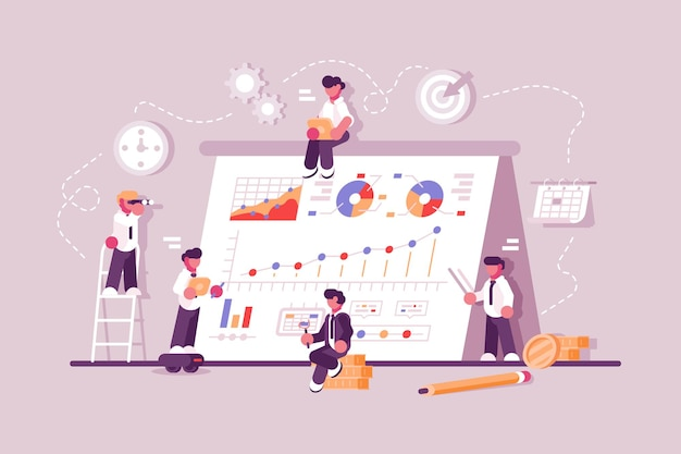 Gente de negocios que trabaja en el gráfico de productividad financiera