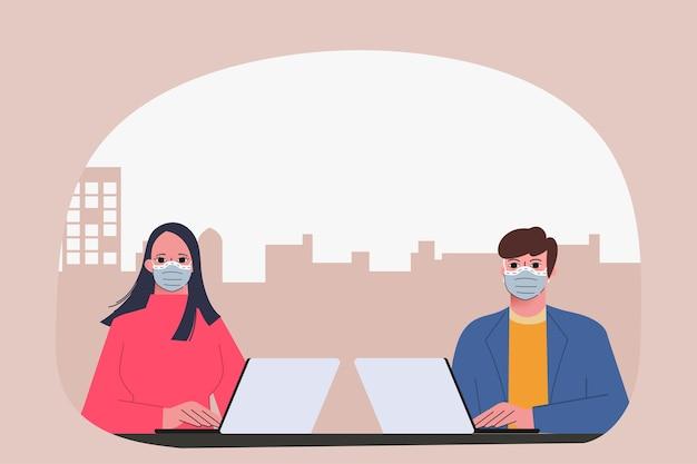 Gente de negocios que trabaja con la ilustración del concepto de computadora portátil