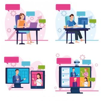 Gente de negocios en reunión de reunión en línea