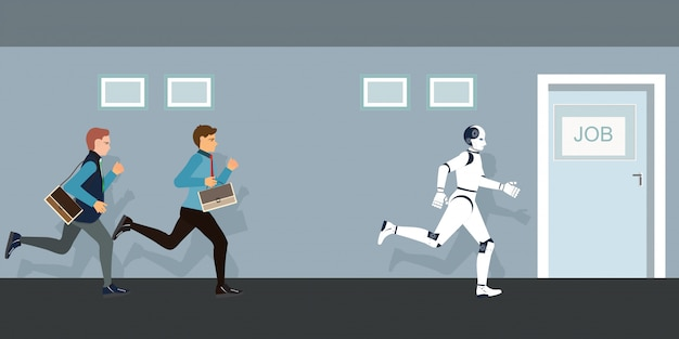 Gente de negocios y robot compitiendo por la puerta de trabajo.