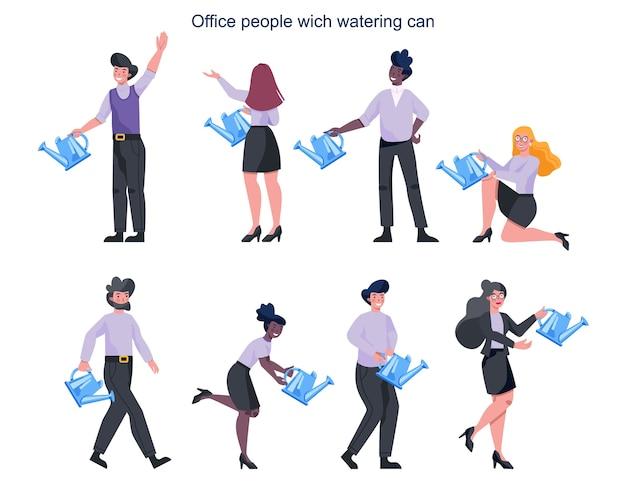 Gente de negocios en ropa formal de oficina sosteniendo una regadera. concepto de crecimiento. idea de éxito, mejora y logro.