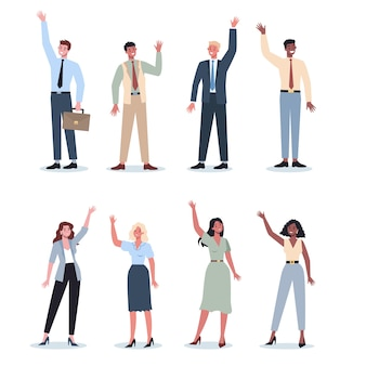 Gente de negocios en ropa oficial con su mano levantada. trabajador en traje de pie y levantando la mano. concepto de negocio de votación, voluntariado.