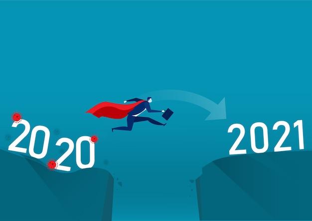 Gente de negocios saltando del virus del año al año nuevo.