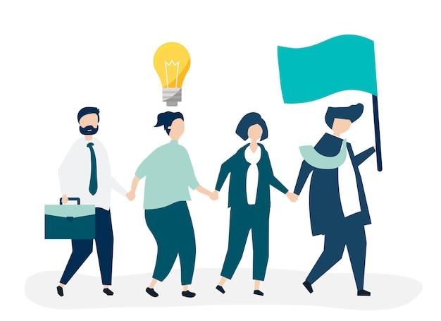 Gente de negocios siguiendo al líder para encontrar un nuevo mercado.