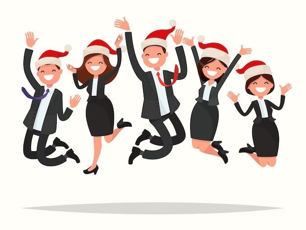 La gente de negocios con sombreros navideños salta.