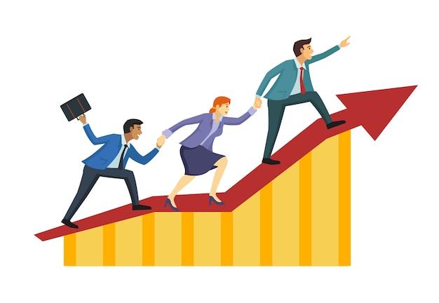 La gente de negocios sube juntos para alcanzar la gloria