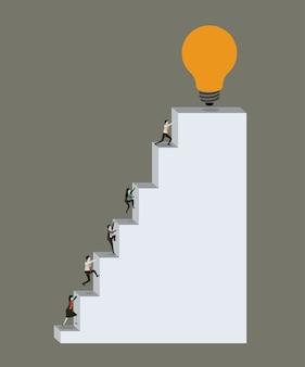 Gente de negocios, subir, escalera, bloque, estructura