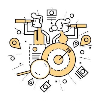 Gente de negocios con telescopio que encuentra la oportunidad. negocios y finanzas concepto. line diseño plano. ilustración vectorial