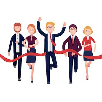 Gente de negocios terminando una carrera de mercado