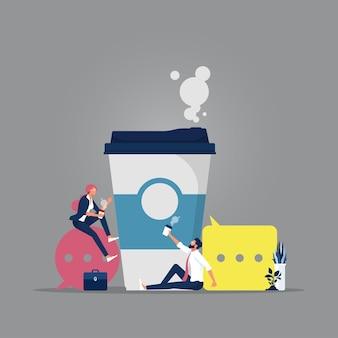 Gente de negocios tomando café